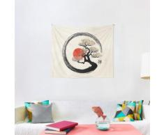 Enso Circle and Bonsai Tree on Canvas Wall Tapestry