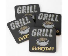 BBQ Grill Fleisch jeden Tag Untersetzer