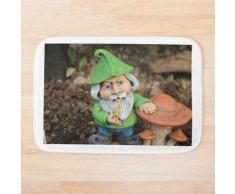 grüner Gartenzwerg mit Pilzen Badematte
