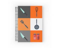 Küchenutensilien. Küchengeräte. Küchenbesteck. Haushaltsgegenstände. Symbole festg Spiralblöcke