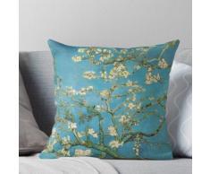 Blühender Mandelbaum. Vintage Ölgemälde mit Blumenimpressionismus. Dieses wunderschöne O Kissen
