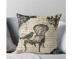Shabby Chic Vintage Vogel Skripte französischen Stuhl Kronleuchter Kissen