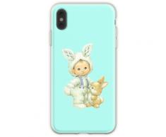 Weinlese-netter kleiner Junge gekleidet als Osterhase Flexible Hülle für iPhone XS Max