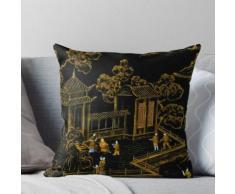 BLACK AND GOLD PAGODAS ORIENTAL SILK BONSAI DESIGN Throw Pillow