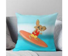 Osterhase auf einem Surfbrett Surfen Kissen
