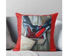Rote untere Stiefel Louboutin Box Kissen