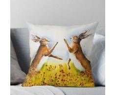 Hasen in die Mohnblumen boxen Kissen