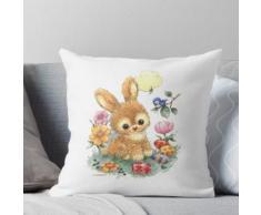 Netter Osterhase mit Blumen und Eiern Kissen