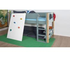 Hochbett für Kinder Kletterwand Grau