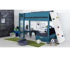 Hochbett für Kinder Kletterwand Anthrazit