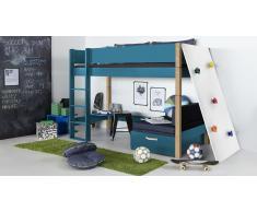 Hochbett für Kinder Kletterwand Grün