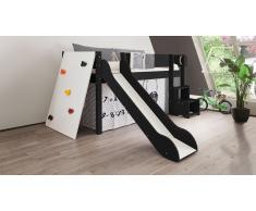Hochbett für Kinder Kletterwand Schwarz