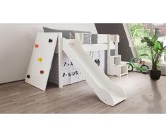 Hochbett für Kinder Kletterwand Weiß