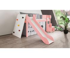 Hochbett für Kinder Kletterwand Rosa