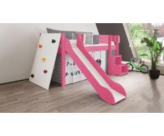 Hochbett für Kinder Kletterwand Pink