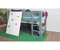 Hochbett für Kinder Kletterwand Gelb