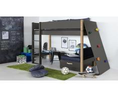 Hochbett für Kinder Kletterwand Blau