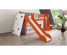 Hochbett für Kinder Kletterwand Orange