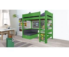 Hochbett für Kinder Ausziehsofa Grün