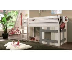 Hochbett für Kinder Laubhütte Weiß