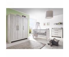 Komplett Kinderzimmer Nordic Cascina groß, 3-tlg. (Kinderbett, Umbauseiten, Wickelkommode und Kleiderschrank 3-trg.), Cascina Pinie grau