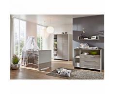 Komplett Kinderzimmer ECO SILBER, 3-tlg. (Kinderbett, Wickelkommode und 2-türiger Kleiderschrank mit Seitenregal), Pinie silberfarbig/weiß grau