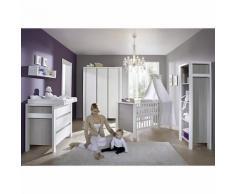 Komplett Kinderzimmer MILANO PINIE, 3-tlg. (Kinderbett + US, Wickelkommode und 3-türiger Kleiderschrank), Pinie silberfarbig/weiß