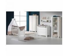 Komplett Kinderzimmer MILANO WEIß, 3-tlg. (Kinderbett + US, Wickelkommode und 2-türiger Kleiderschrank), weiß