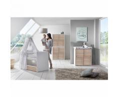 Komplett Kinderzimmer Clic, 3-tlg.(Kombi-Kinderbett 70x140, Umbauseiten, Wickelkommode mit Wickelaufsatz und Kleiderschrank 4-trg.), Buche teilmassiv, weiß/Pinie