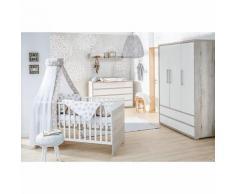 Sparset Mick, 2-tlg. (Kombi-Kinderbett 70x140 cm, Umbauseiten und extra breiter Wickelkommode mit Wickelaufsatz), teilmassiv, Halifax Eiche weiß/weiß