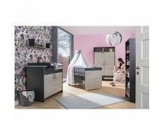 Komplett Kinderzimmer Clou, 3-tlg.(Kombi-Kinderbett 70x140, Umbauseiten, Wickelkommode mit Wickelaufsatz und Kleiderschrank 2-trg.), teilmassiv, anthrazit/Suomi Pinie holzfarben