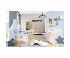 Sparset Clou Oak, 2-tlg. (Kombi-Kinderbett 70x140 cm, Umbauseiten und Wickelkommode mit Wickelaufsatz), teilmassiv, weiß/Halifax Eiche weiß holzfarben