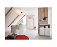 Komplett Kinderzimmer CLASSIC GREY (Kinderbett 60x120, Wickelkommode und Kleiderschrank 2-trg.), Nachbildung grau/weiß