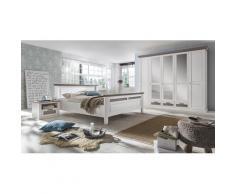 Schlafzimmer Set mit Bett 160x200 + Drehtürenschrank 5-türig + 2x Nachttische Locarno