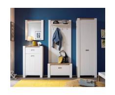 DELIFE Wandgarderobe Medine 80 cm Weiss Ablage und Kleiderhaken, Dielenmöbel