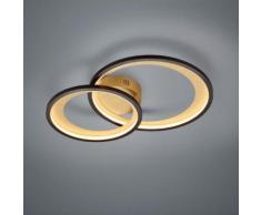 Trio Granada LED Deckenleuchte mit Dimmer B: 59 H: 8,5 T: 43 cm, messing/schwarz 673810232, EEK: A+