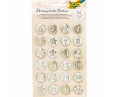 Adventskalender-Buttons, weiß