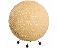Tisch Lampe Muschel Wohn Zimmer Kugel Fernbedienung dimmbar weiß im Set inkl. RGB LED Leuchtmittel