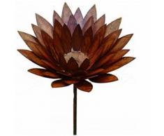 Edelrost Chrysantheme am Stab Rostiges Metall Gartenfigur, Metall Figur, Gartendeko
