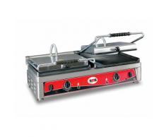 GMG - Doppel-Kontaktgrill - ▲ Gerillt/Glatt ▼ Gerillt/Glatt - mit Grillplatten aus Gusseisen, Fettauffangschale und Temperaturregelung 50° - 300° C