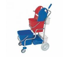 CleanSV® SPL verchromter Putzwagen mit Moppresse, 2 Körben und 2 Plastikeimern je 20l