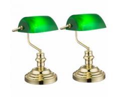 2er Set Nostalgie Antik Retro Tisch Lampe Banker Leuchte Schreibtischlampe grün