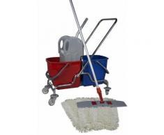 CleanSV Wischset 50 cm - Doppelfahrwagen Chrom / Reinigungswagen mit Presse, Mop Set: bestehend aus 3 Baumwollmop / Wischmop 50 cm , einem 50 cm Klapp