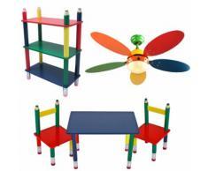 Kinder Möbel Set Decken Ventilator einstellbar Tisch Gruppe Massiv Holz Steh Regal Bunt Stift Optik Bleistift Kindermöbel