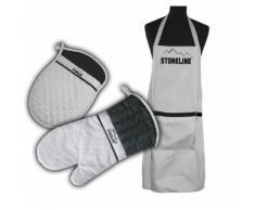 STONELINE® Back- und Küchenset, 3-tlg. Backschürze, Topfhandschuh und Topflappen