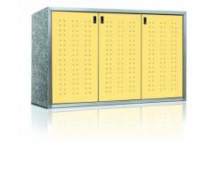 Paul Wolff Mülltonnenbox SILENT Trend Cremegelb 3er Box Mülltonnenverkleidung, 120 L, Granit Mixed