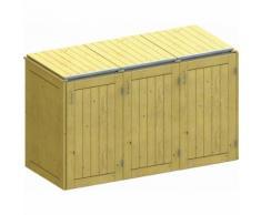 Binto Mülltonnenbox für 3 Behälter, Nadelholz Mülltonnenverkleidung