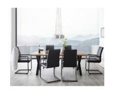 DELIFE Esstischgruppe Baumkante 200x95 cm Eiche Natur mit 6 Stühlen, Esstischgruppen