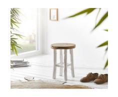 DELIFE Sitzhocker Taniela 35x35x46 cm Teak Massiv mit 4 Beinen, Sitzhocker / Sitzwürfel