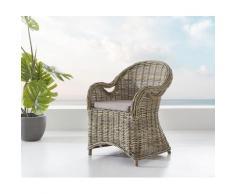DELIFE Armlehnstuhl Laneya grau aus Rattan geflochten mit braunem Kissen, Gartenmöbel